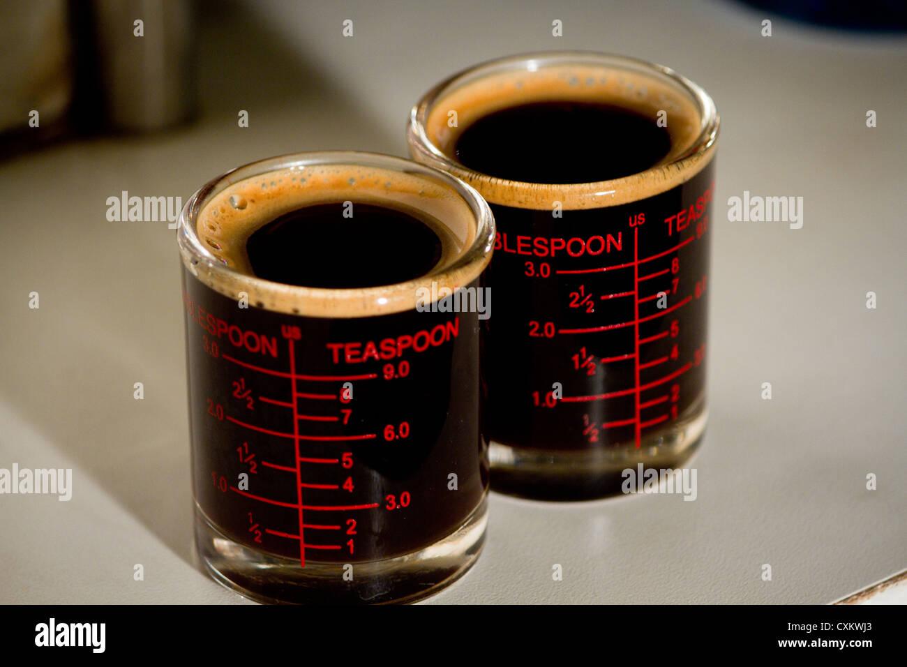Espresso black double shot così buon odore Immagini Stock