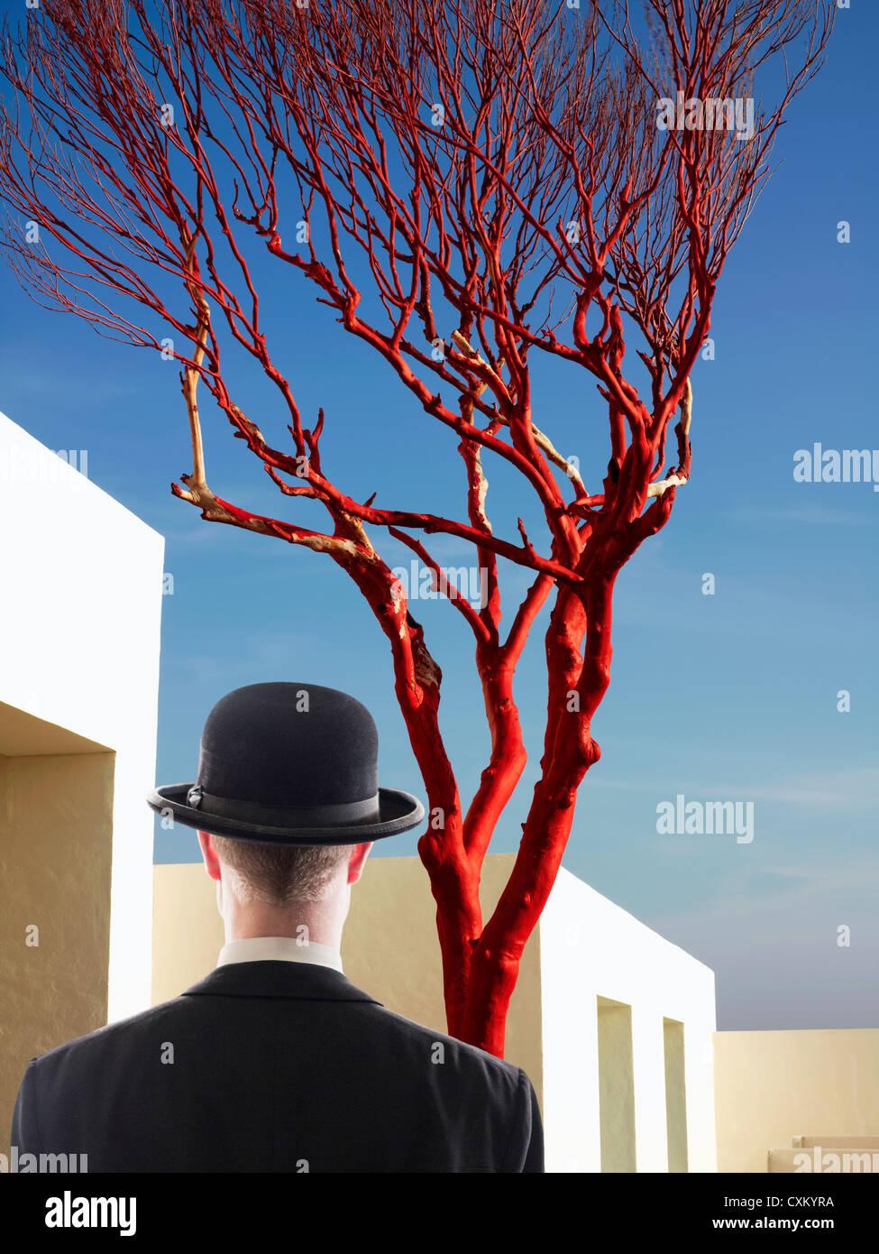 L'uomo rivolto verso l edificio dipinto di bianco con un nudo Albero rosso Immagini Stock