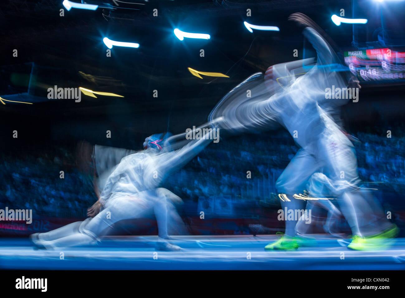 Azione sfocate di scherma la concorrenza. Immagini Stock
