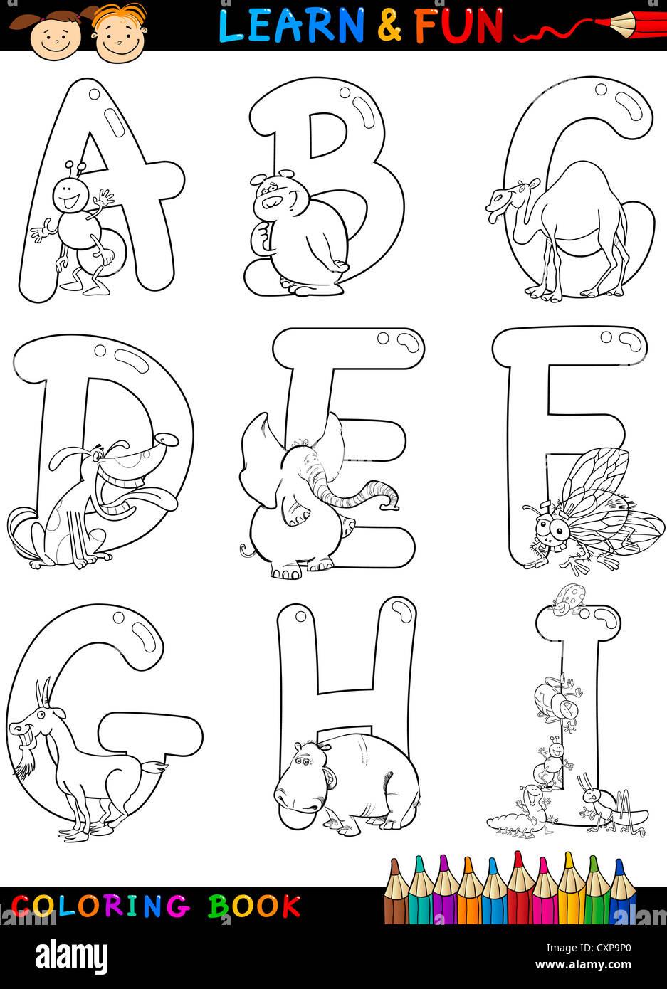 Alfabeto Cartoon Libro Da Colorare O Pagina Impostati Con Animali