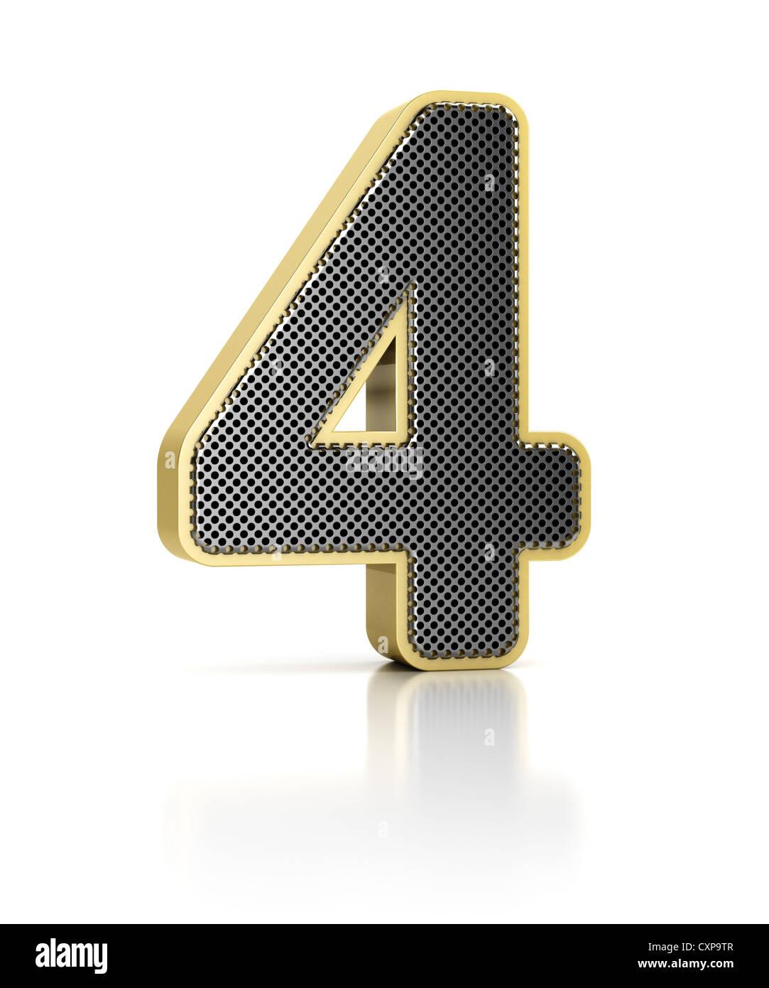 Il numero quattro come un oggetto metallico lucente su bianco Immagini Stock