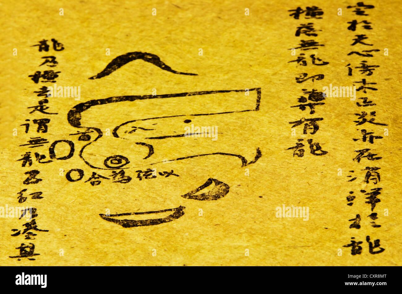 Il cinese antico libro di oltre 150 anni circa i segreti del fengshui Immagini Stock