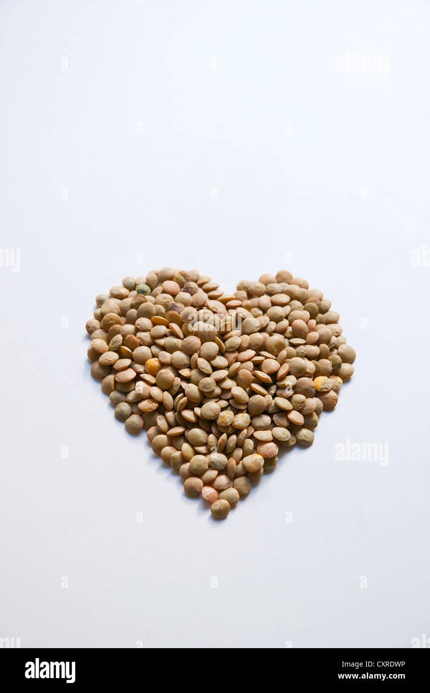 Concetto: lenticchie, buono per la salute del cuore Immagini Stock