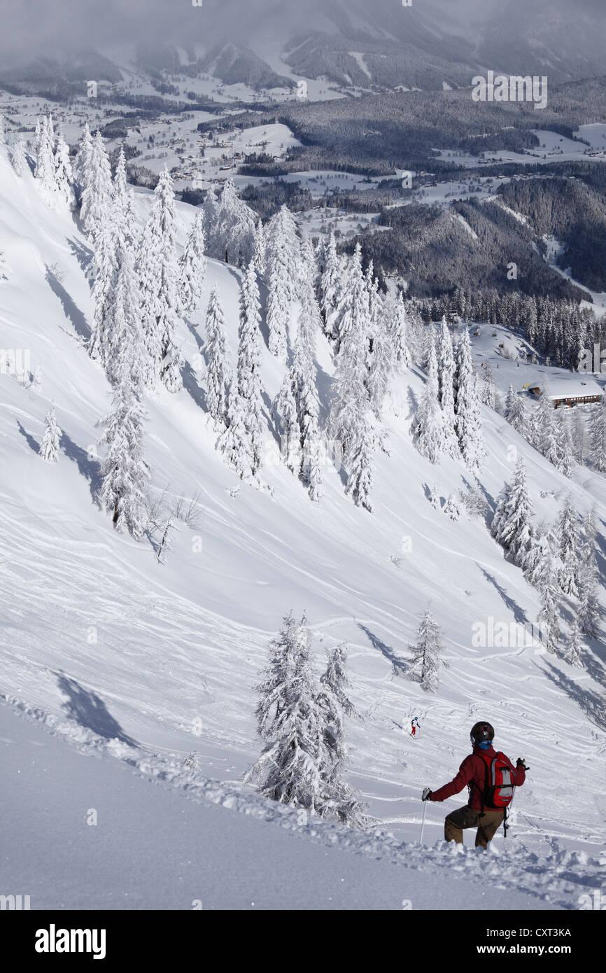 Hahn'l piste piste da sci, Reiteralm zona sciistica, Pichl-Preunegg vicino a Schladming, Stiria, Austria, Europa Immagini Stock