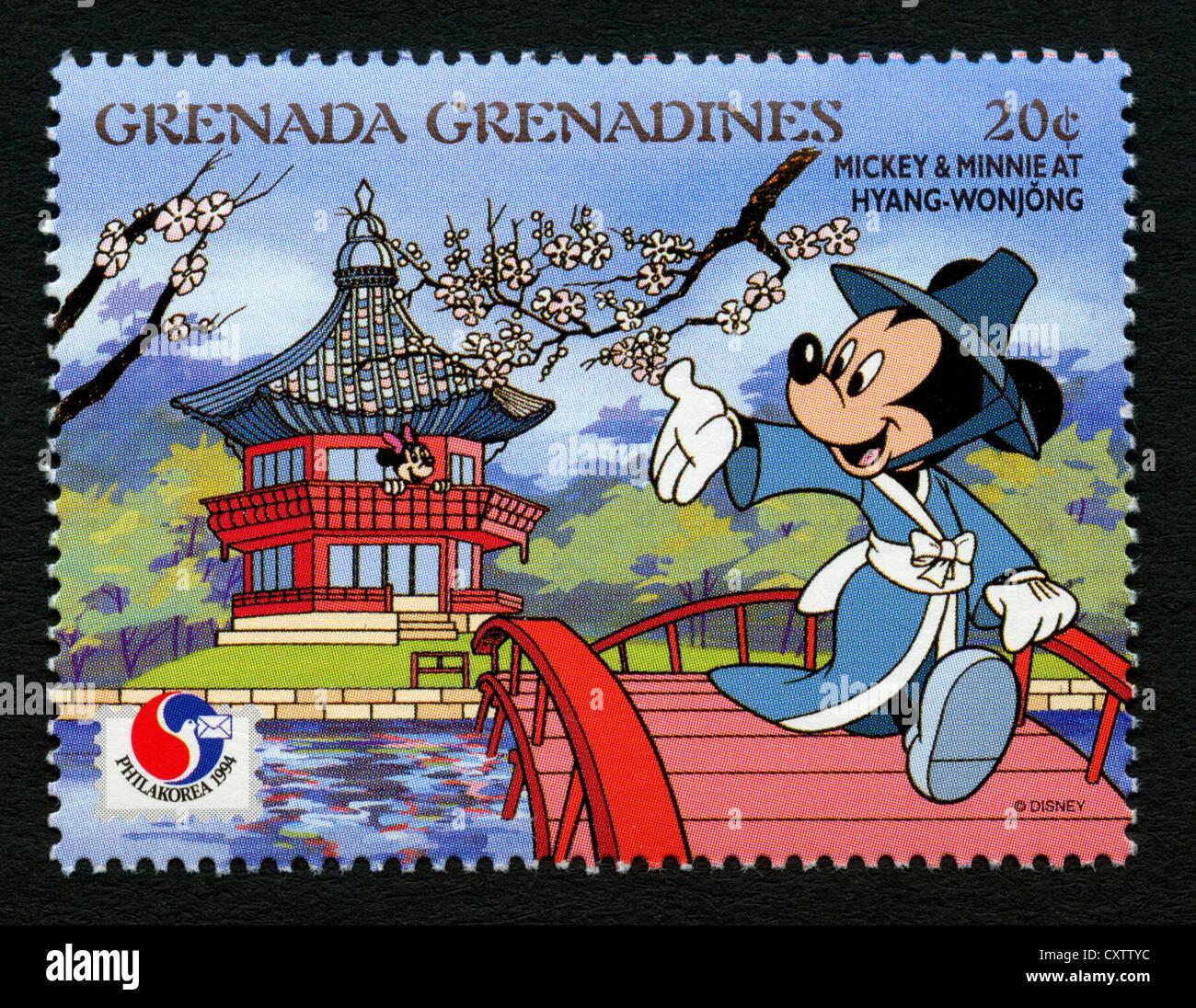 Grenada francobollo cartoni animati disney topolino e minnie