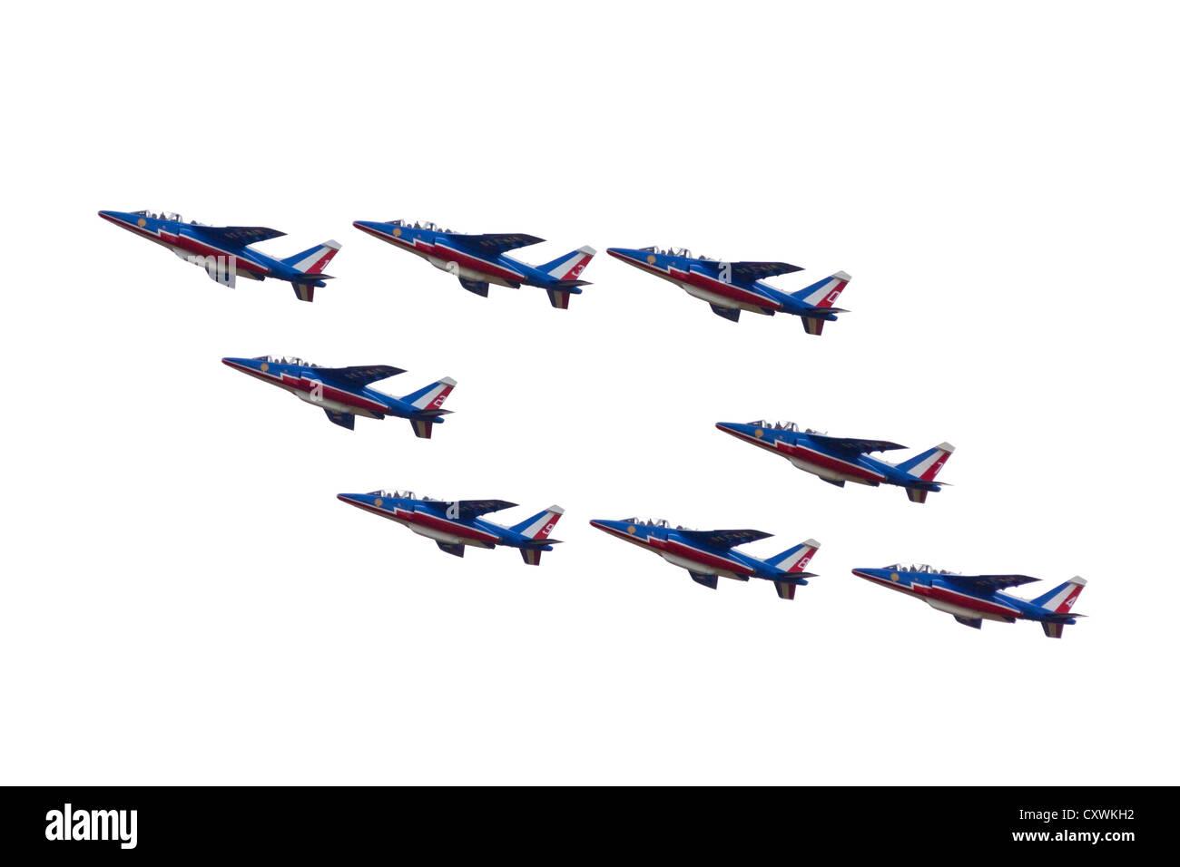 Una performance dai francesi che la pattuglia acrobatica (Patrouille de France) durante la Cervolix Air Festival. Immagini Stock