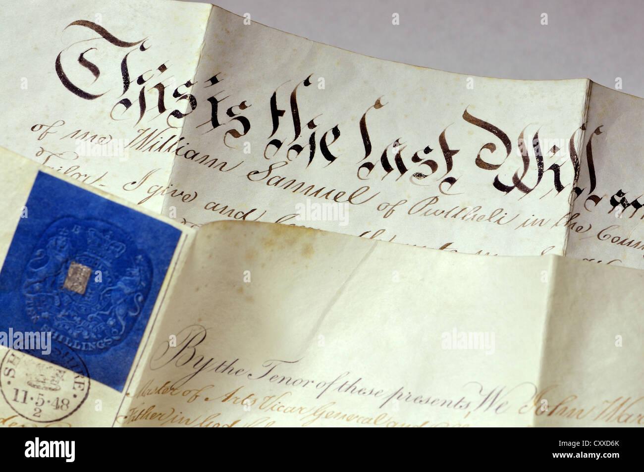 Probate documento scritto su pergamena. 17 maggio 1848; ultima volontà e il testamento di William Samuel Immagini Stock
