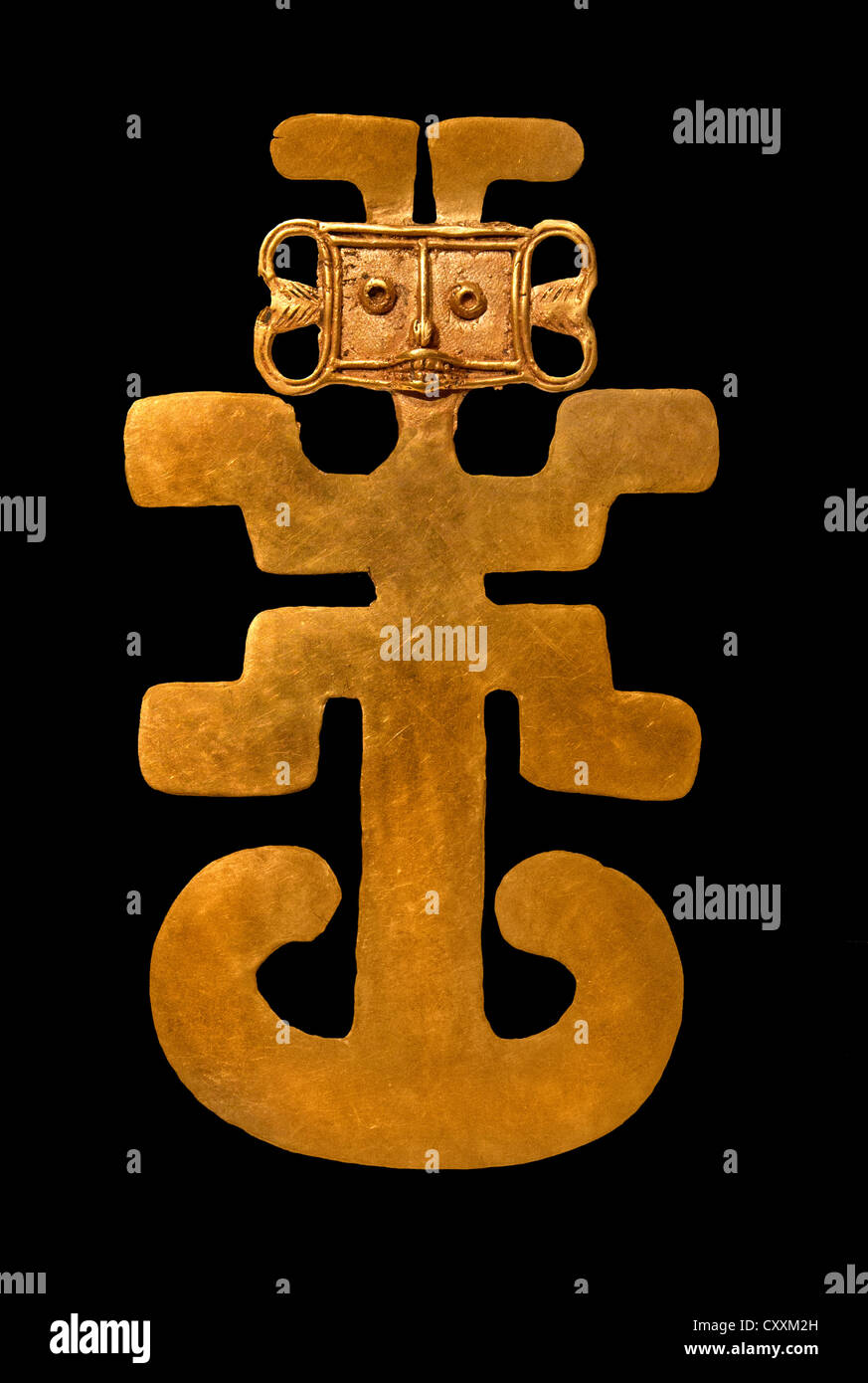Pendente antropomorfo 5th-X secolo Colombia Rio regione di Magdalena Tolima Gold 16.2 cm Columbian Immagini Stock