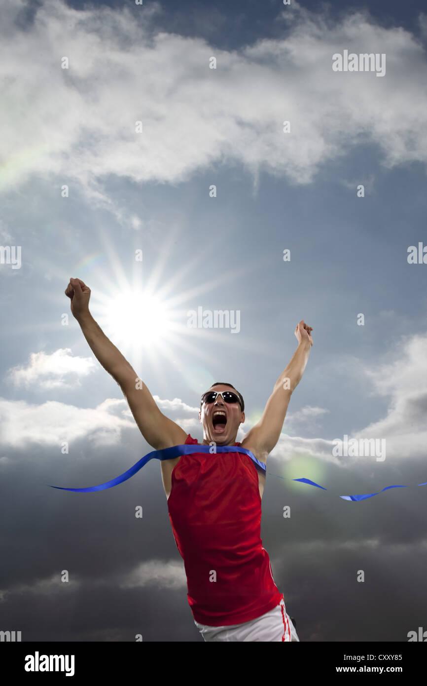 Runner, Triumph, traguardo, tifo Immagini Stock