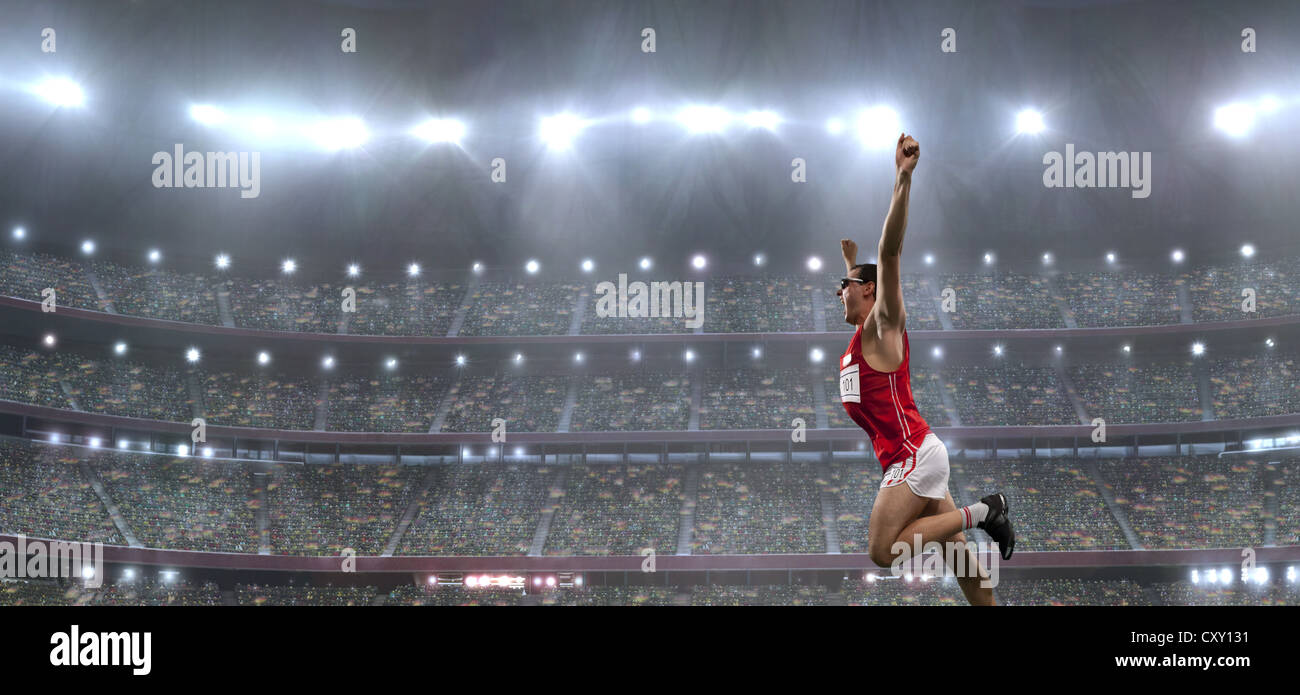 Runner, Triumph, traguardo, stadio tifo Foto Stock