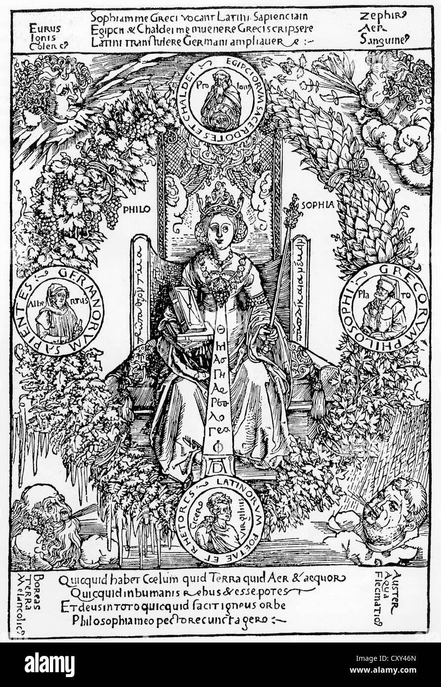 ALBRECHT DÜRER (1471-1528), artista tedesco. Il suo 1502 xilografia personificando la filosofia Immagini Stock