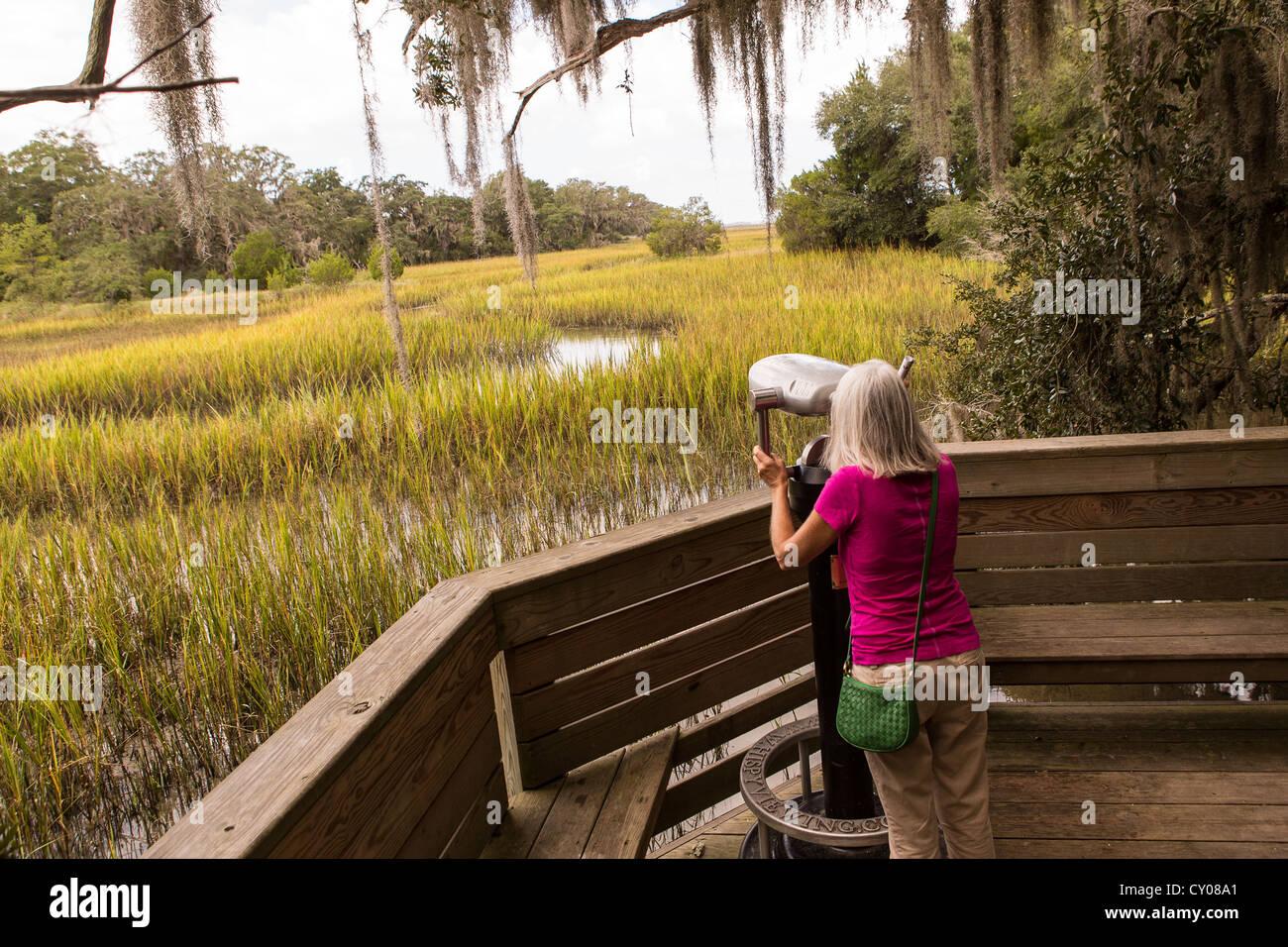 Donna anziana utilizza un visore binoculare on Salt Marsh boardwalk al miele piantagione di avvisatore acustico Immagini Stock