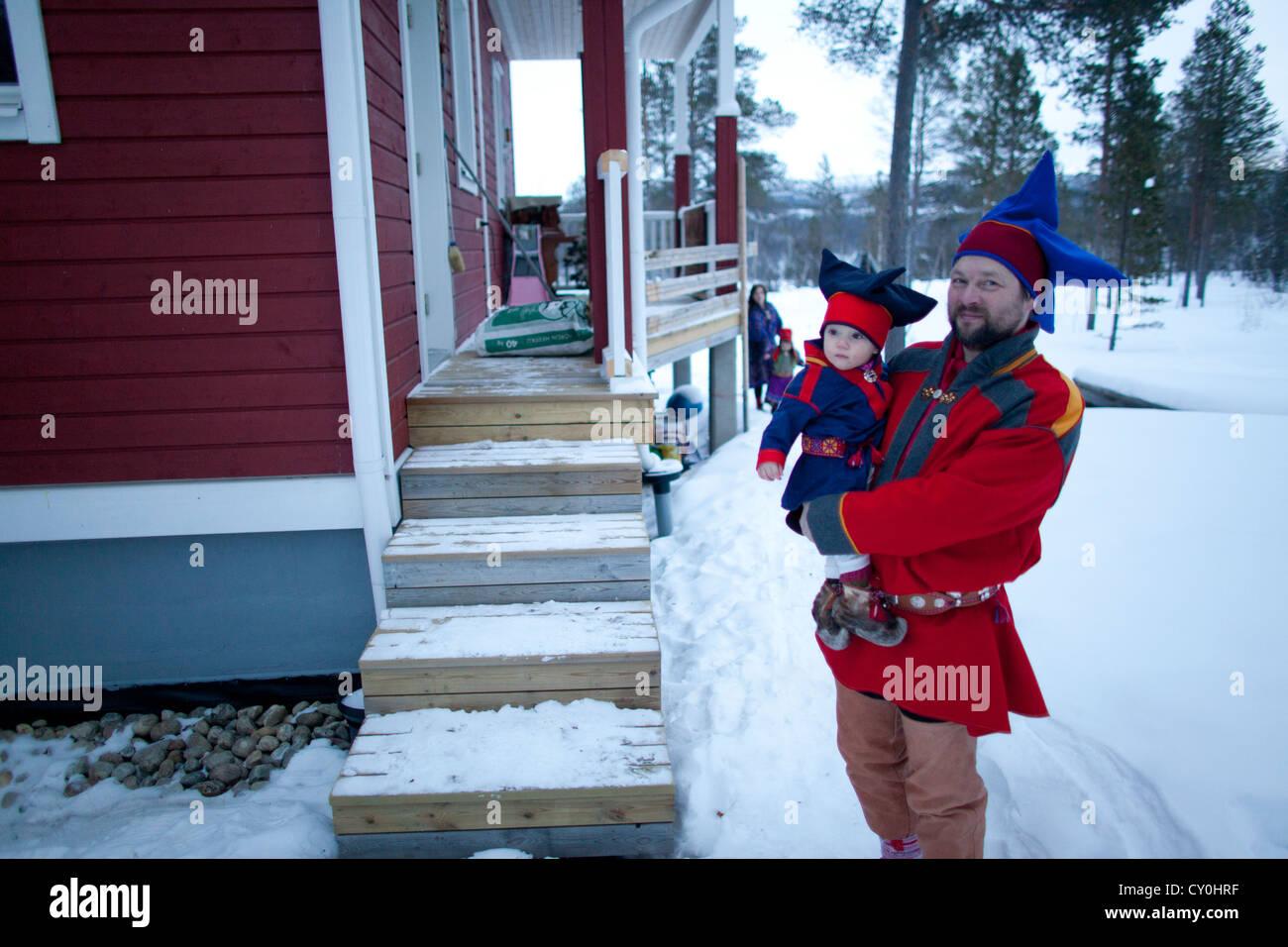Popolazione sami nel nord della Finlandia Immagini Stock