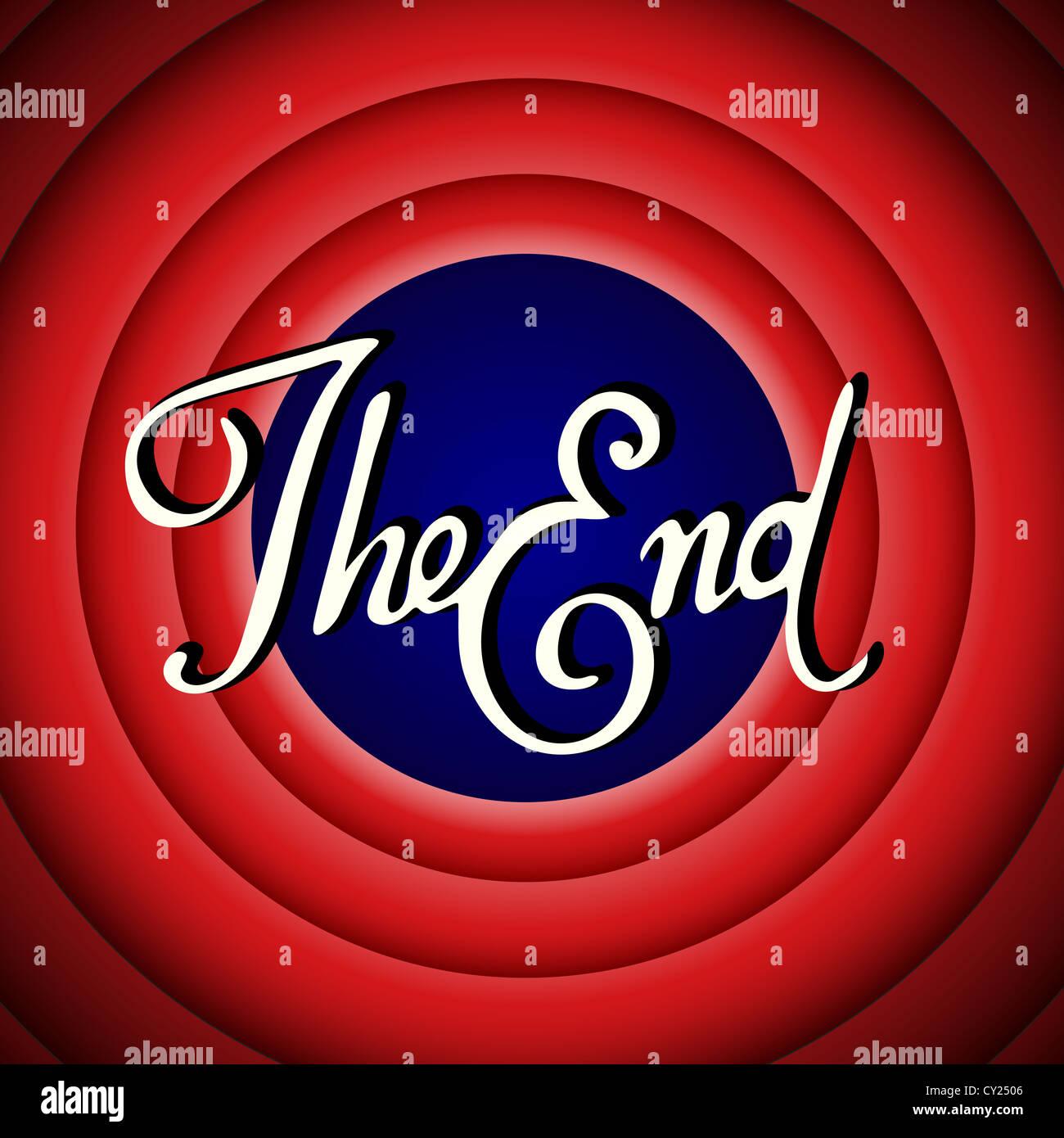 Vintage il finale del film schermo Immagini Stock