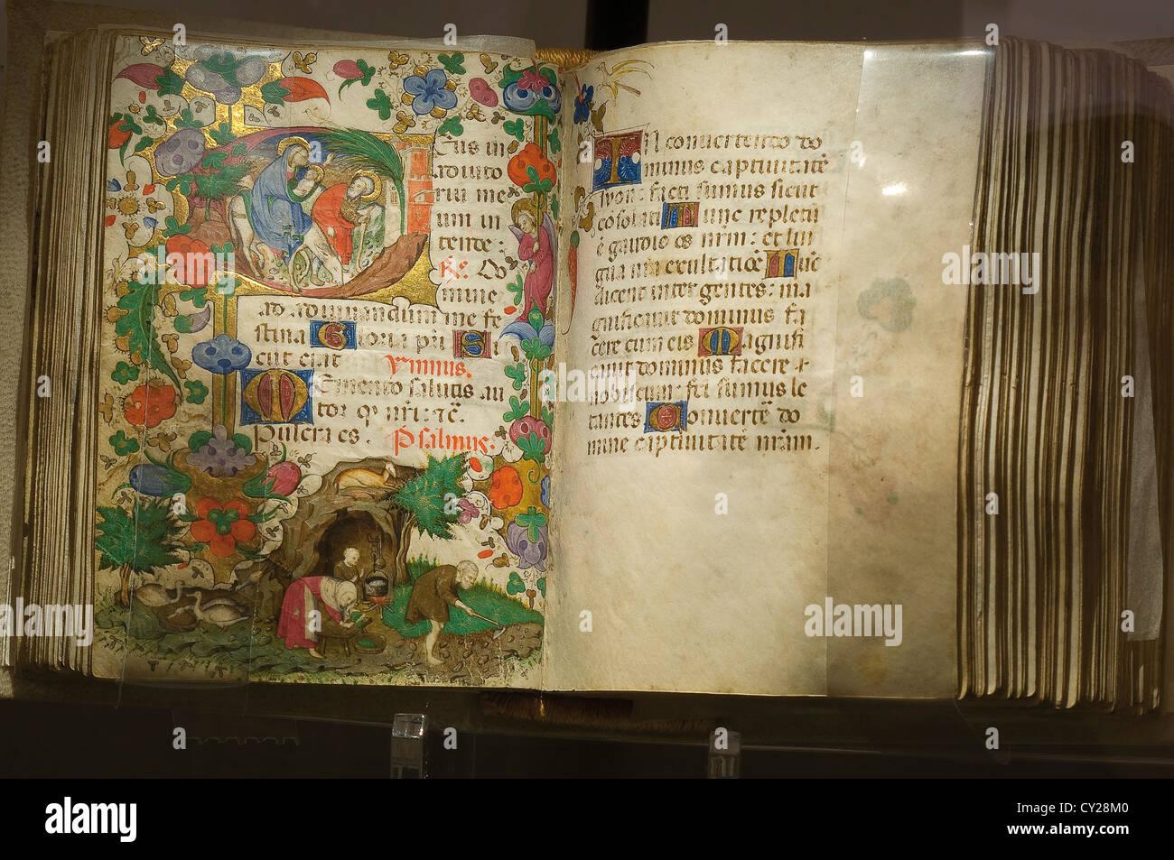Europa Italia Lombardia Como Palazzo Volpi Galleria di arte rinascimentale in camera Libro d'Ore miniature del Immagini Stock