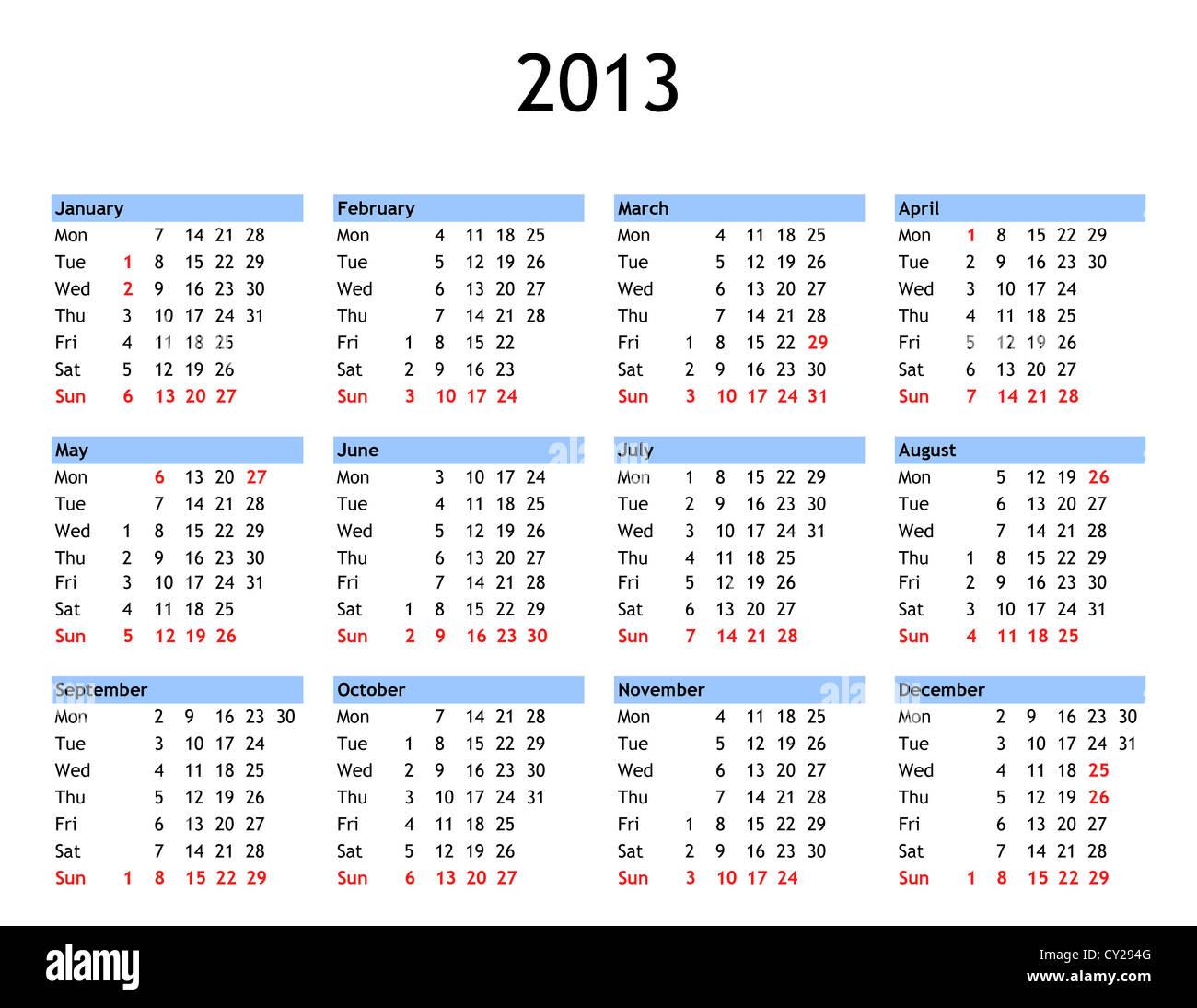 Calendario Con Giorni Festivi.Singola Pagina Anno 2013 Calendario Con Il Pubblico E I