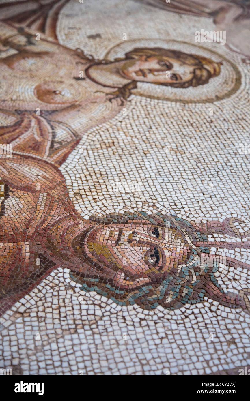 Mosaici di piastrelle a casa di Anfitrite, le rovine Romane di Bulla Regia vicino a Jendouba Tunisia Immagini Stock