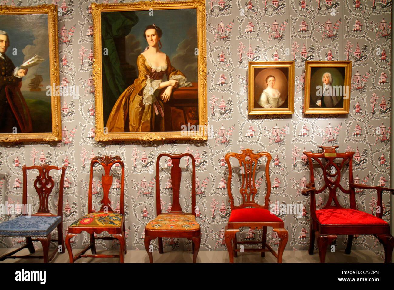 Boston Massachusetts Huntington Avenue Museo di Belle Arti di dipinti di raccolta mobili d'arte Immagini Stock