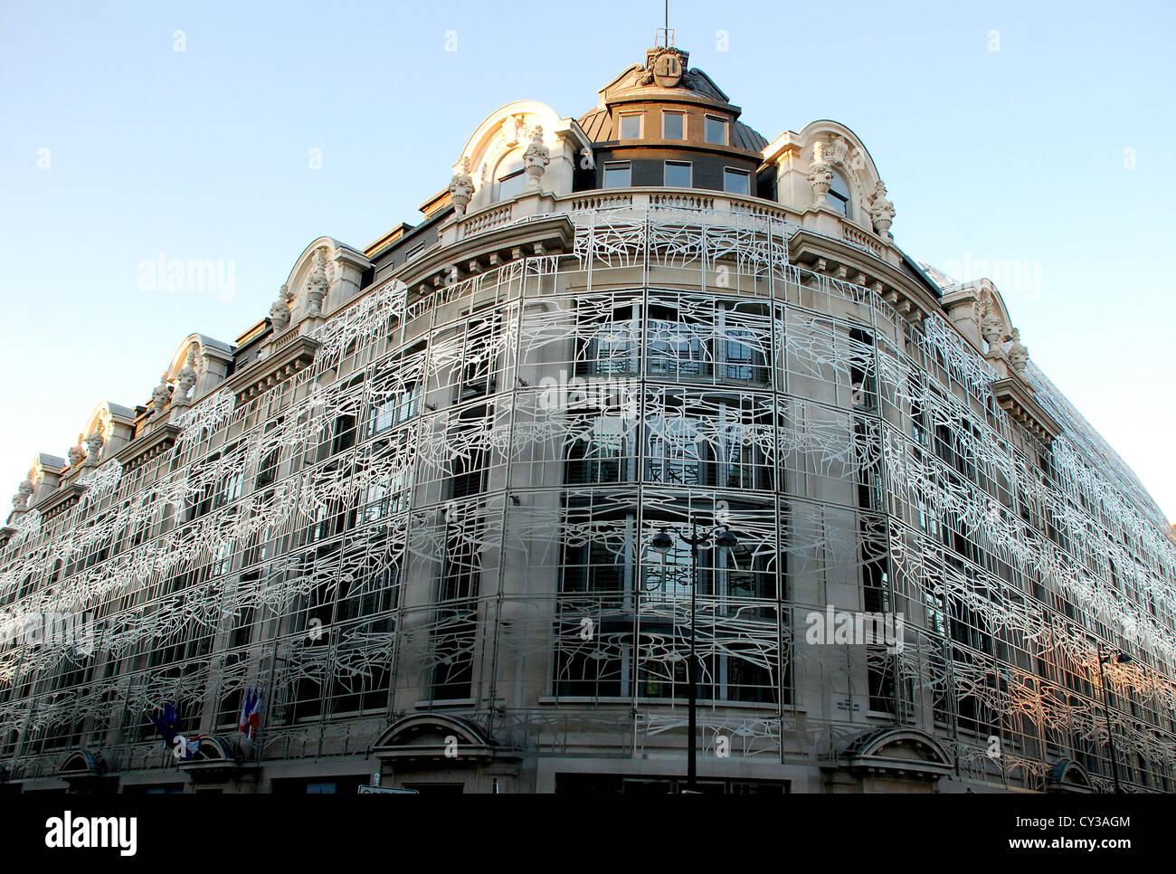 Decorazione di metallo stile Art Nouveau sul Ministero della cultura e delle comunicazioni edificio, Paris, Francia. Foto Stock