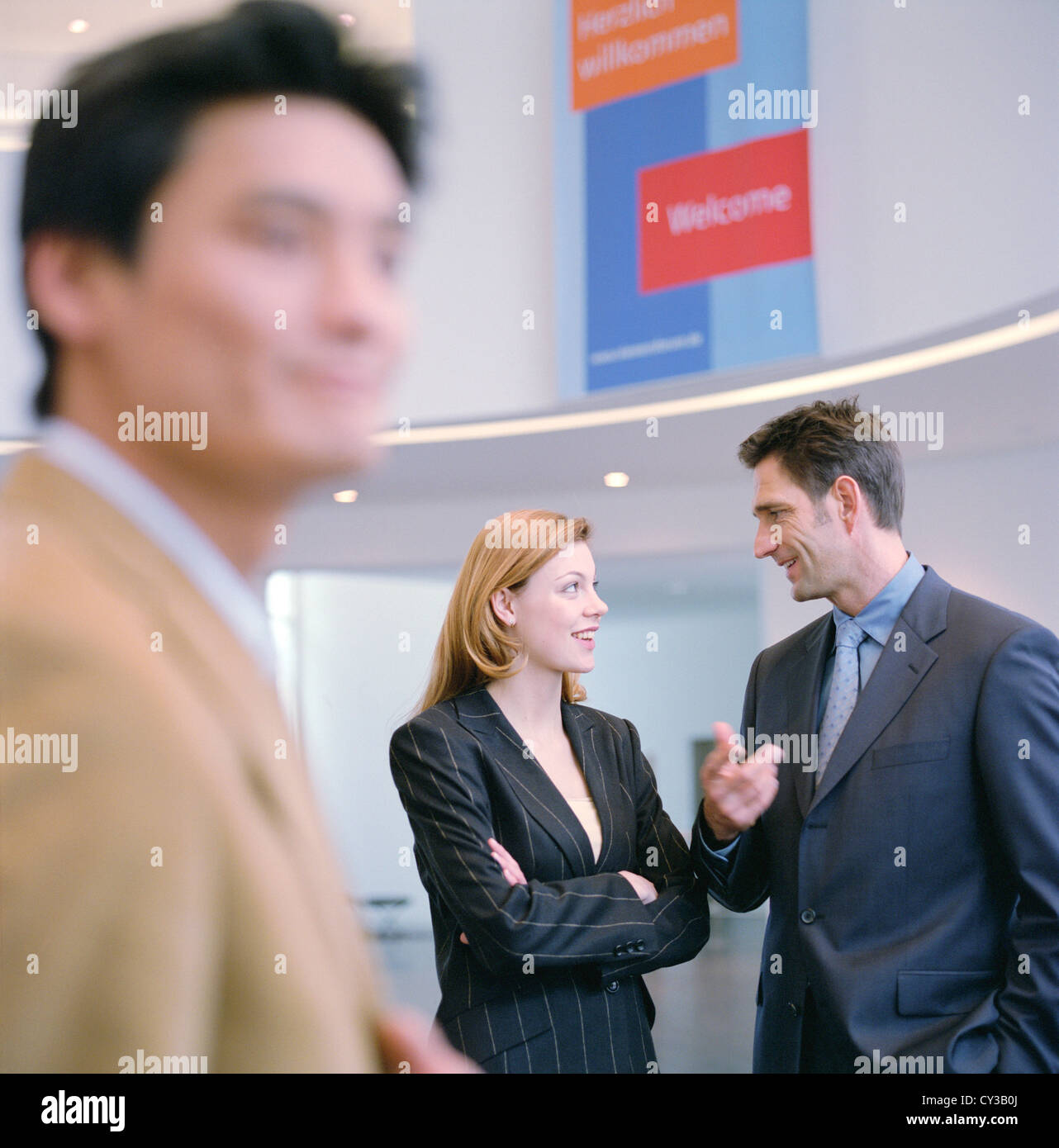 La gente di affari uomo donna la cooperazione manager licenza gratuita ad eccezione di annunci e cartelloni per Immagini Stock