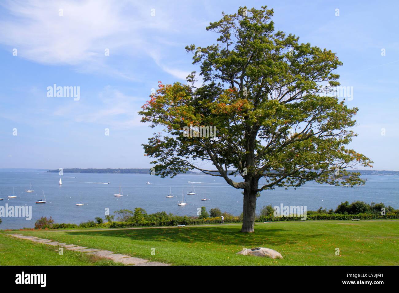Portland Maine di Casco Bay Fort Ft. Allen Park scenic prato albero acqua Immagini Stock