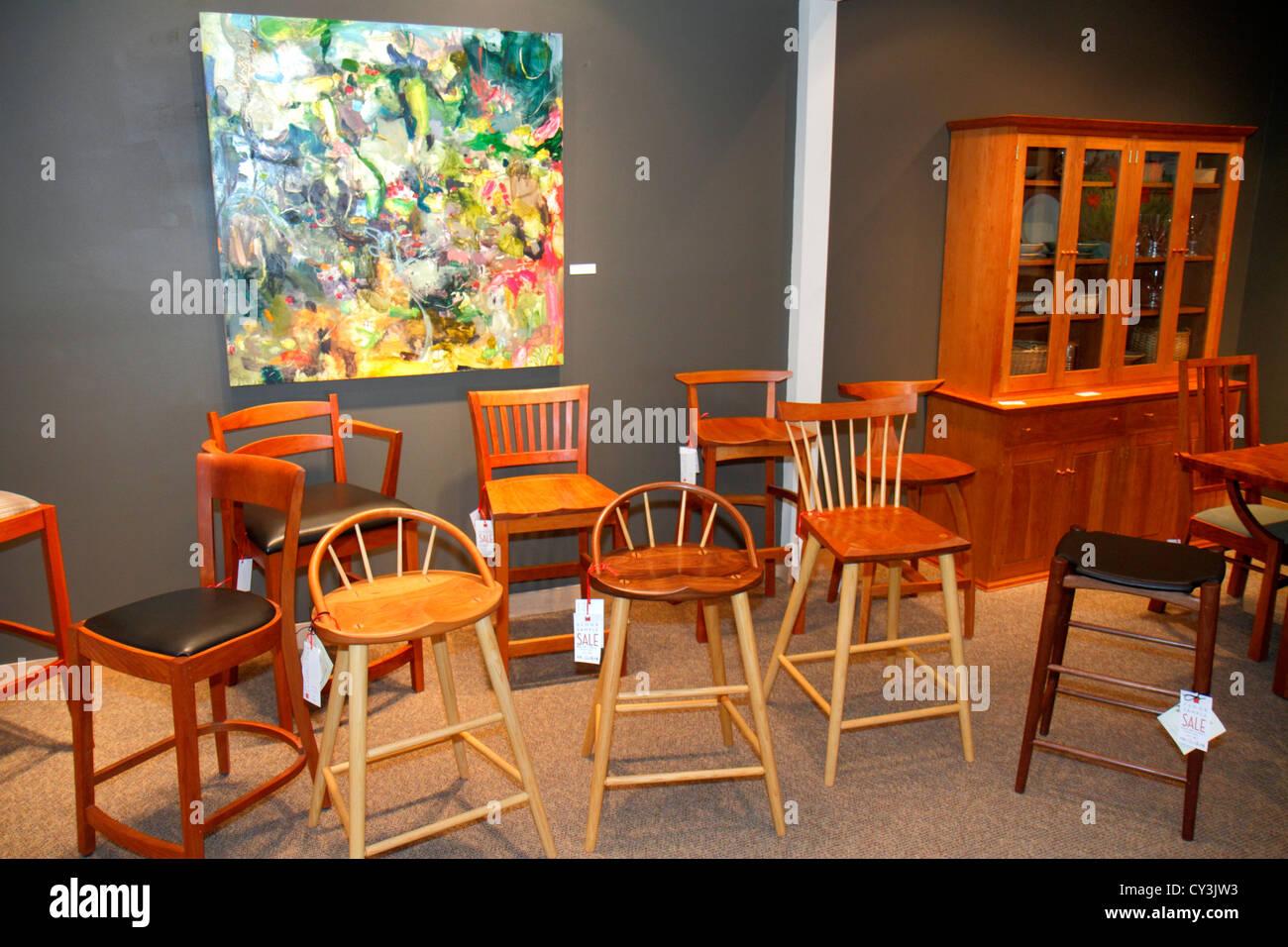 Maine Freeport Main Street Thomas Moser falegnamerie è realizzata a mano con arredamento designer sedie tavoli Immagini Stock