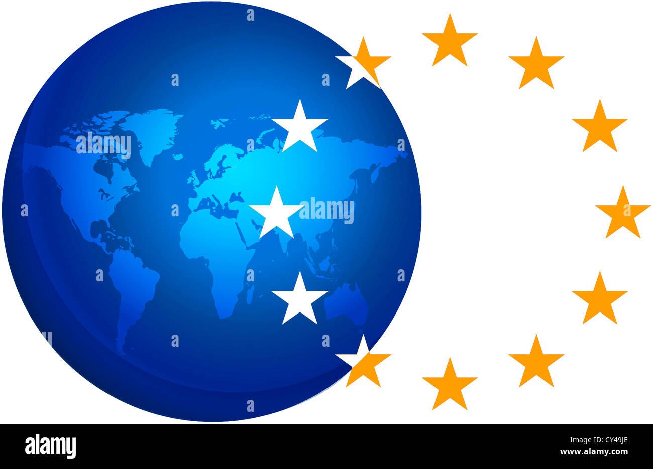Il logo del servizio europeo di azione esterna EEAS basato a Bruxelles. Immagini Stock