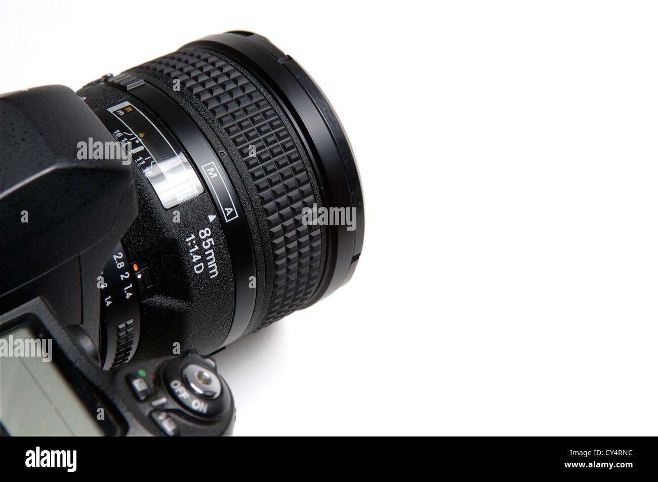 Close-up di fotocamera con 85mm teleobiettivo Immagini Stock