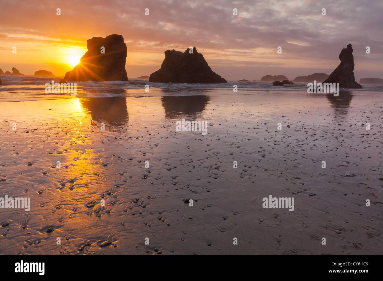 Stato di Bandon Park, Oregon: Tramonto riflessioni a bassa marea con stagliano seastacks al Bandon Beach Immagini Stock