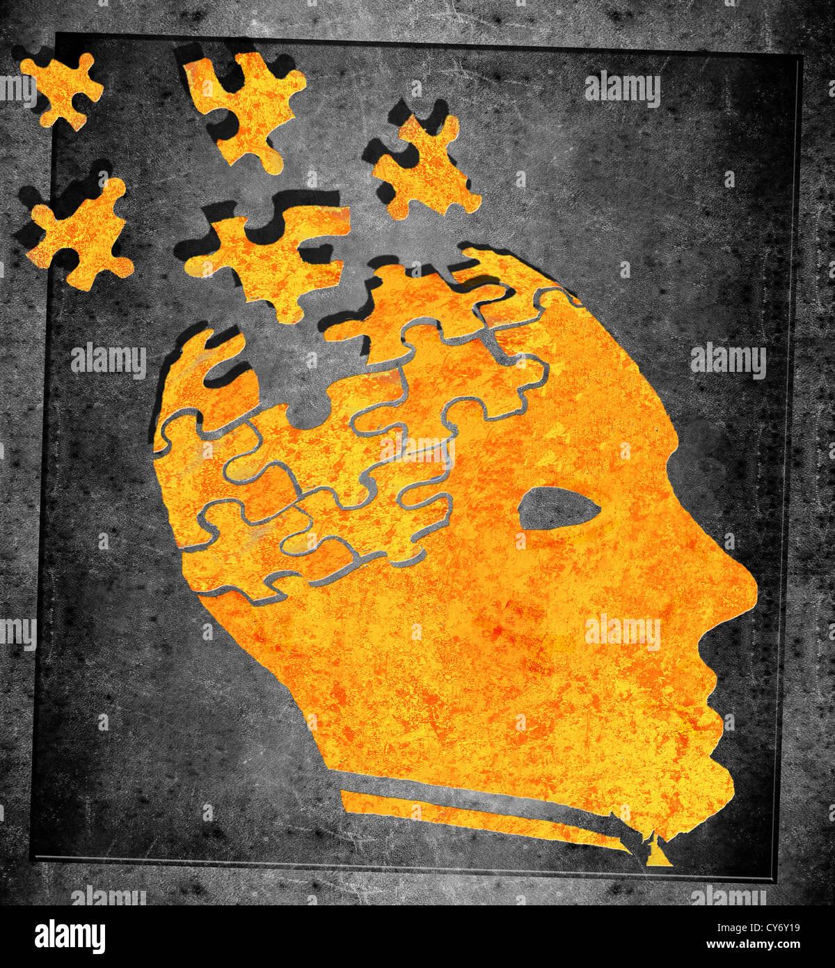 Perdere il concetto di memoria di arancione e nero illustrazione Immagini Stock
