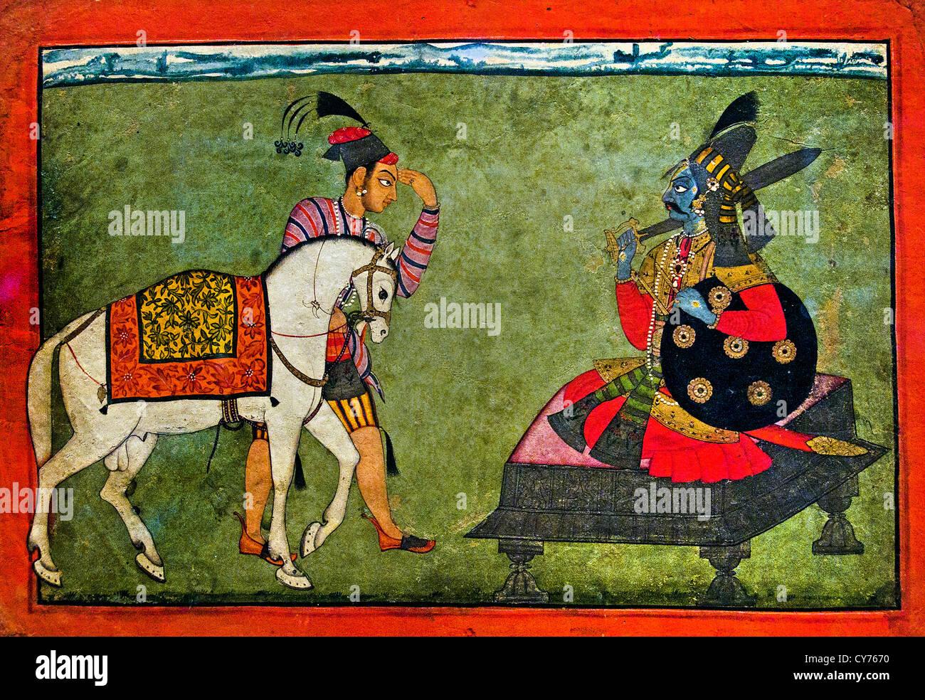 Kalki Avatar la futura incarnazione di Vishnu e Shiva Parvati giocando Chaupar Rasamanjari 700 India Basohli Jammu Immagini Stock