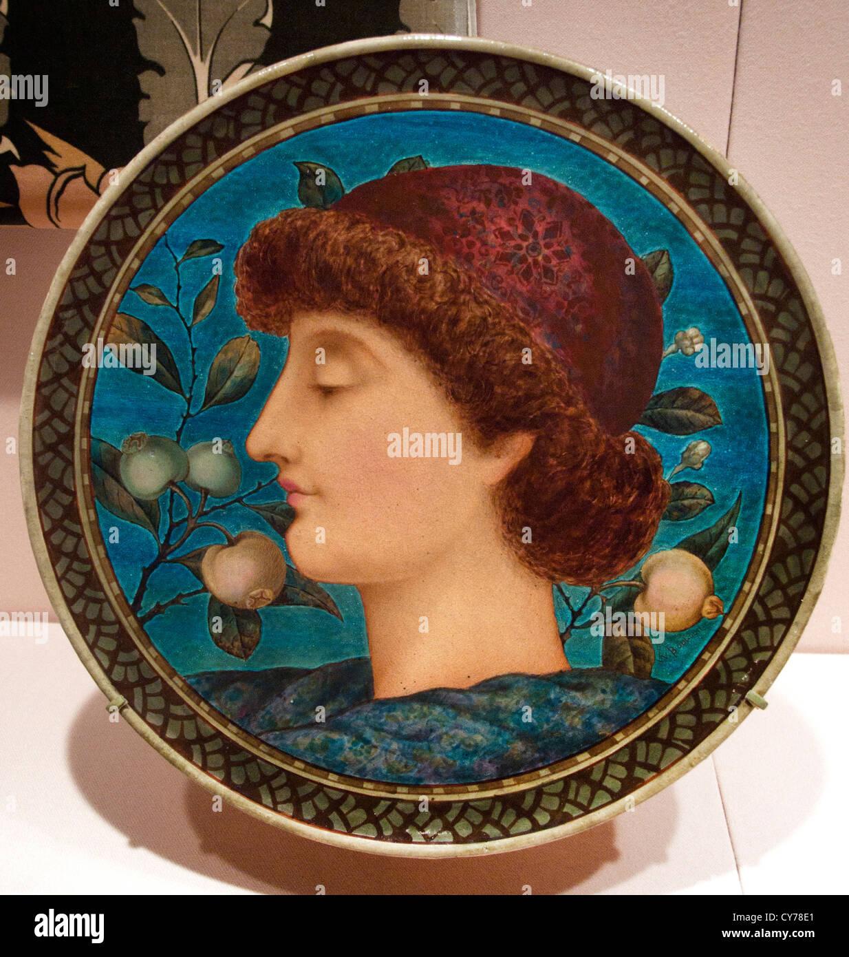 Piastra piatto W. Boulton 1880 English Staffordshire Copeland terraglia 36,8 cm ceramica Immagini Stock