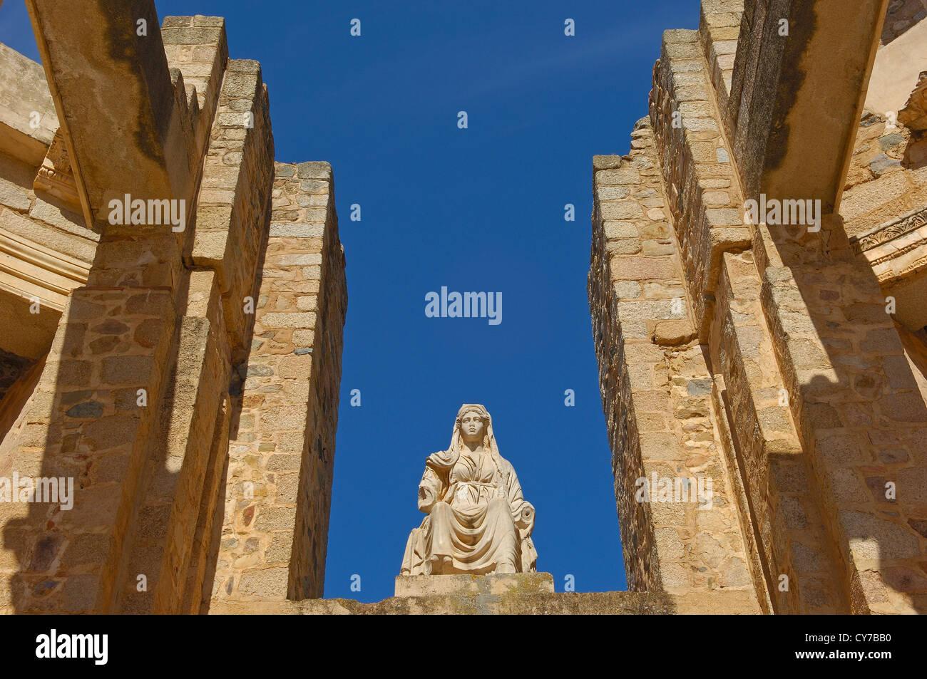 Teatro romano, Merida, provincia di Badajoz, Estremadura, Spagna Immagini Stock