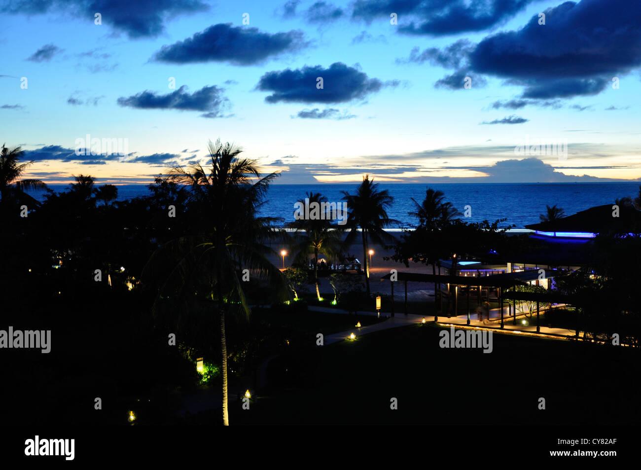 Vista da Shangri La Hotel al mare a Sabah, Borneo Malaysia Immagini Stock