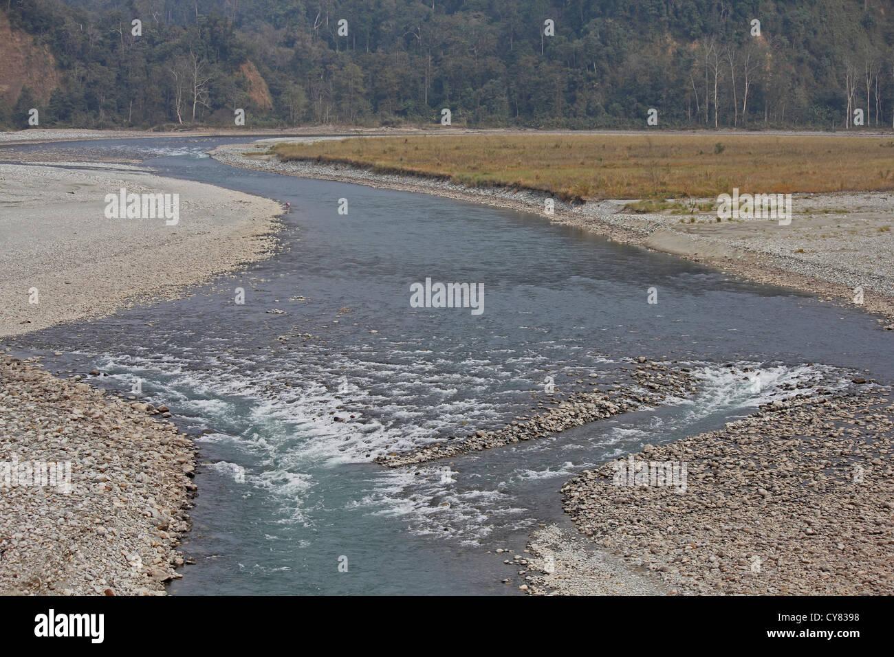 Debang il letto del fiume, Arunachal Pradesh, India