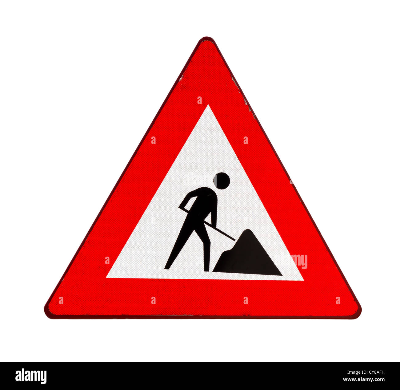 Cartello stradale che indica i lavori stradali in anticipo, isolato su sfondo bianco Immagini Stock