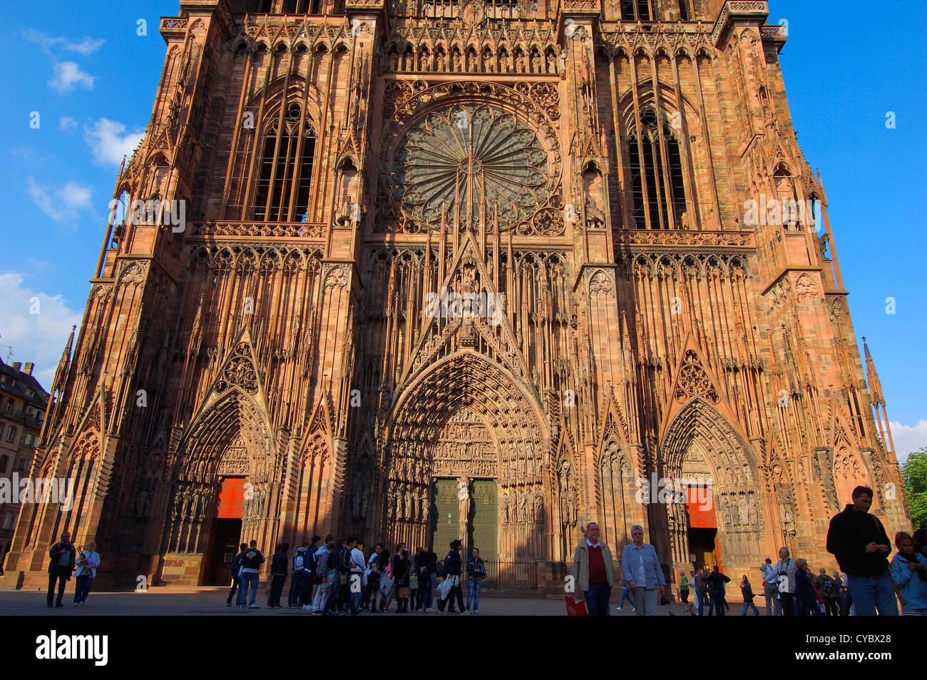Cattedrale di Strasburgo, Notre Dame cattedrale gotica, sito patrimonio mondiale dell'UNESCO, Alsazia, Bas Rhin, Immagini Stock