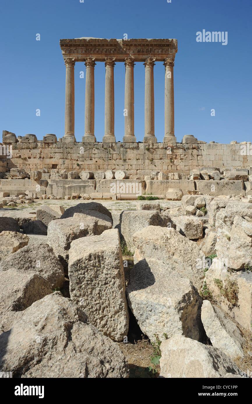 I resti di un tempio di Baalbek in Libano. Immagini Stock