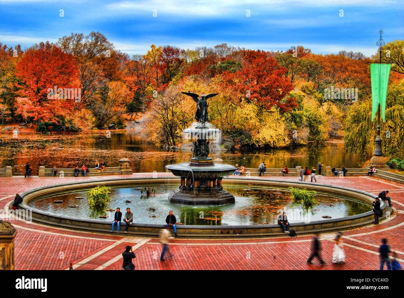 Immagine hdr di Bethesda Terrazza in autunno, Central Park, Manhattan, New York City. Immagini Stock