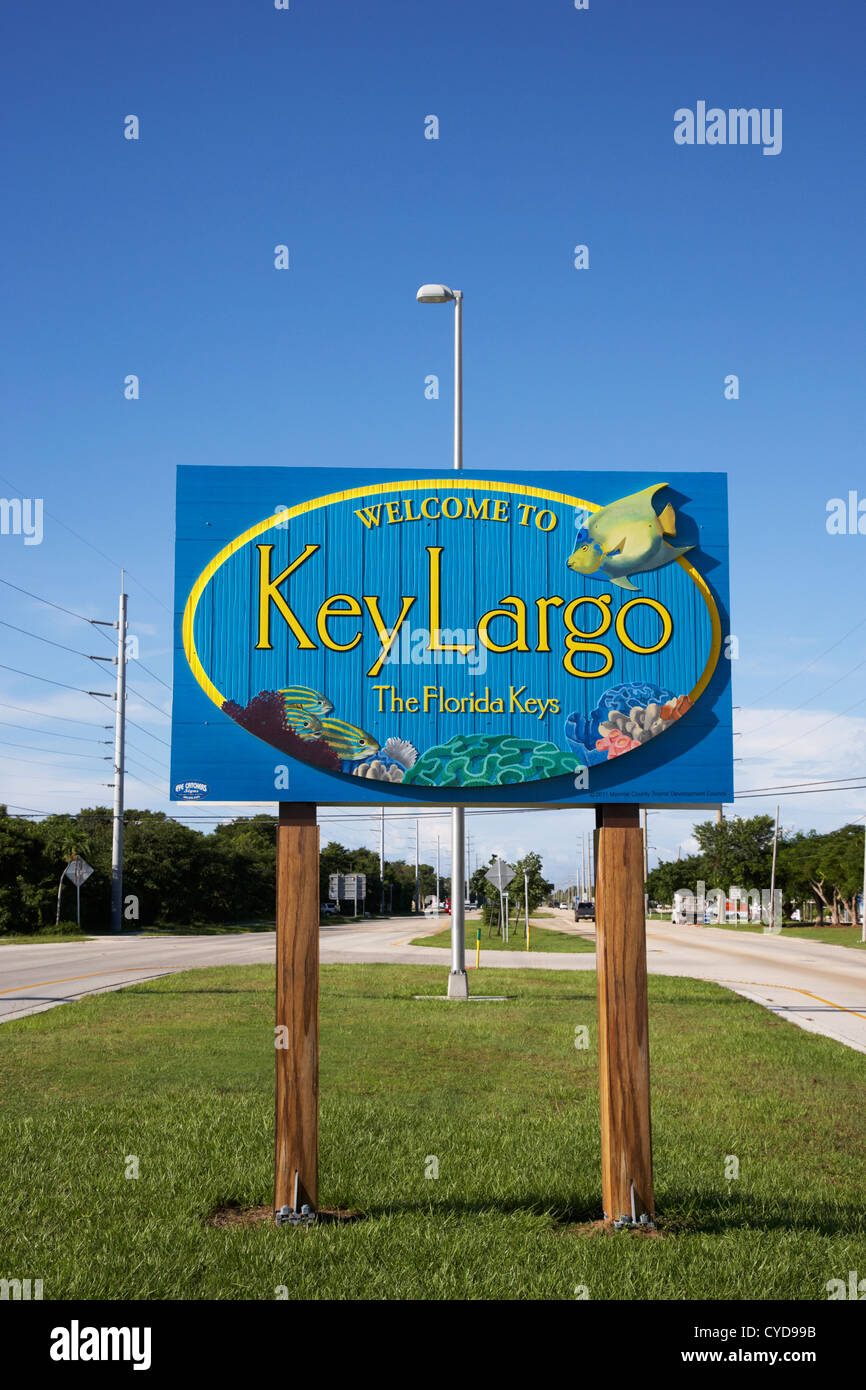Benvenuti in Key Largo cartello stradale Florida keys usa Immagini Stock