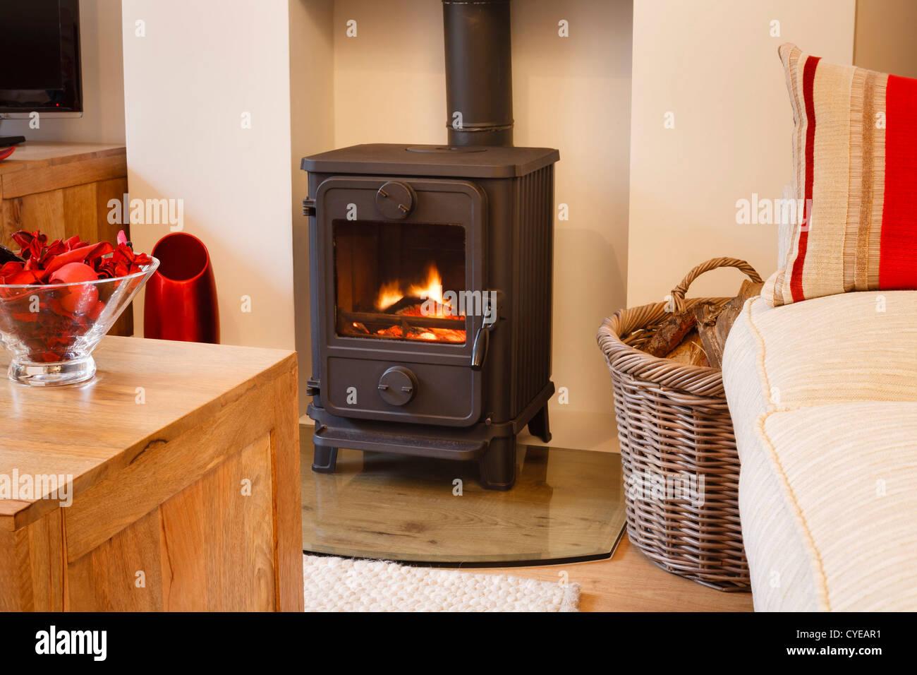 Interni moderni ed accoglienti soggiorno con bruciatore di legno Immagini Stock