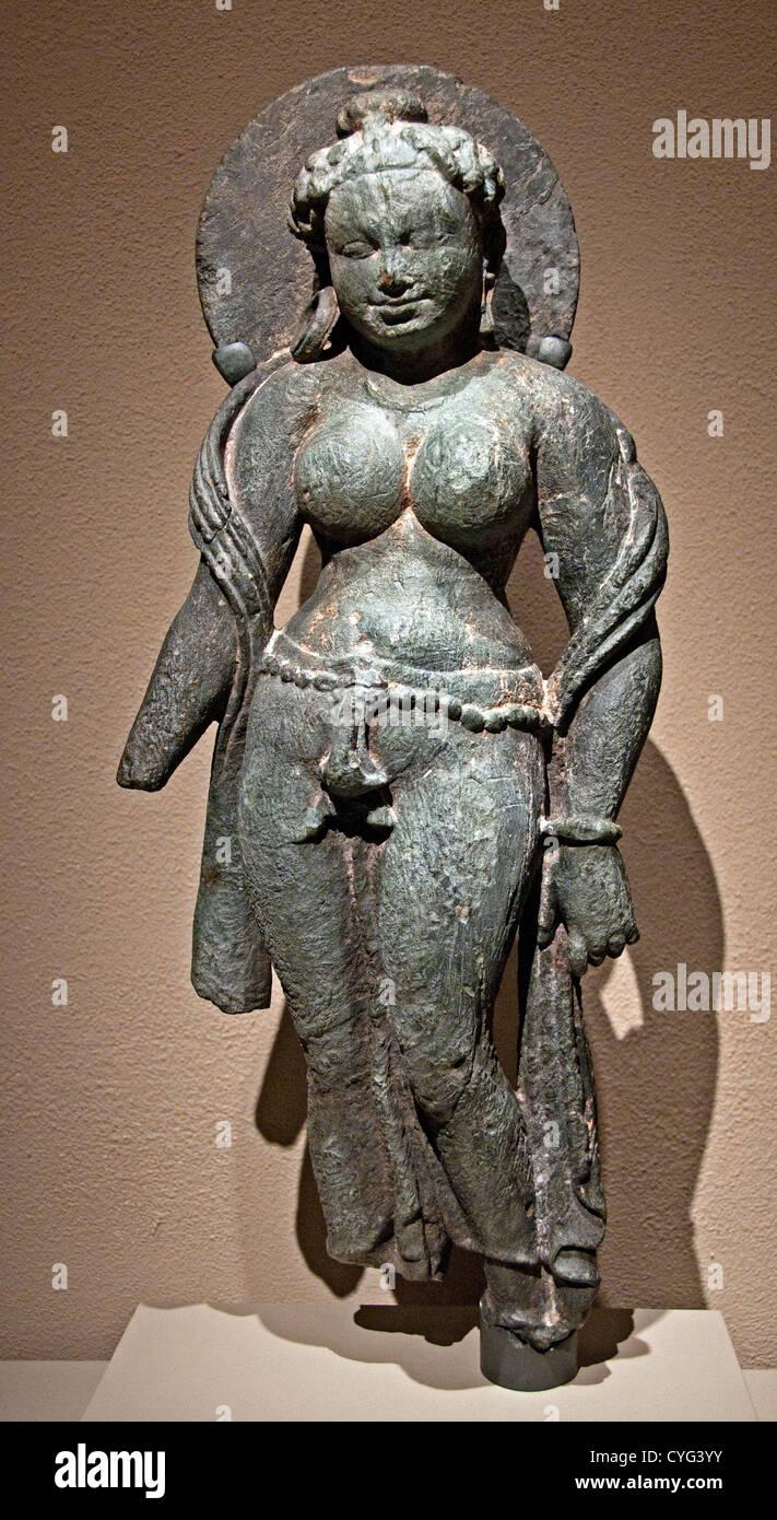 Dea Madre Matrika vi secolo India Rajasthan Tanesara scisto grigio 62 cm scultura indiana Foto Stock