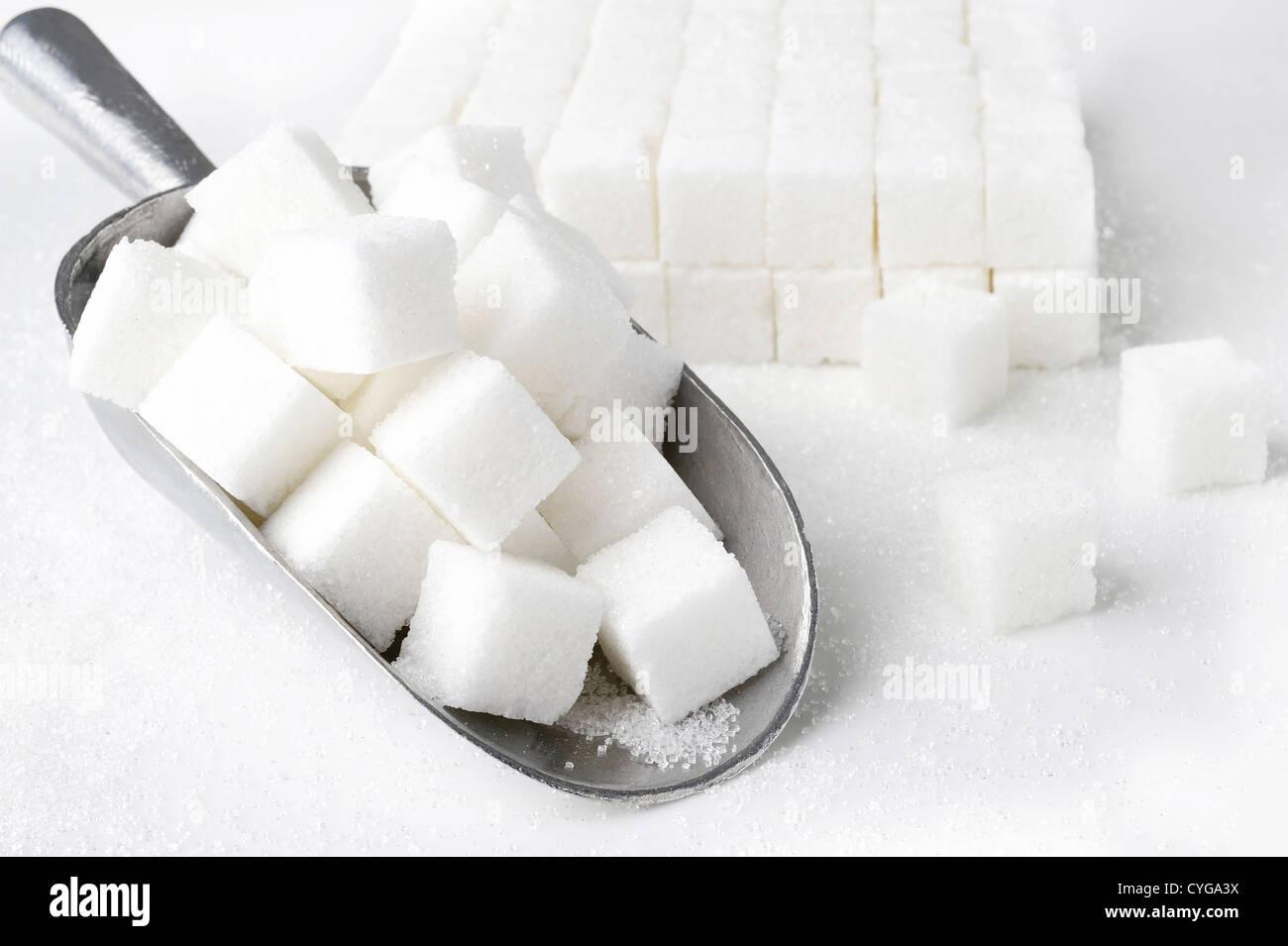 Scoop di cubetti di zucchero su sfondo bianco Immagini Stock