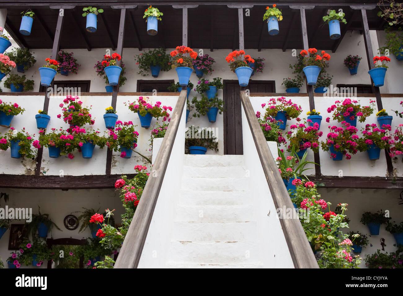 Casa tradizionale in andalusia con vasi di fiori montato for Casa tradizionale tedesca