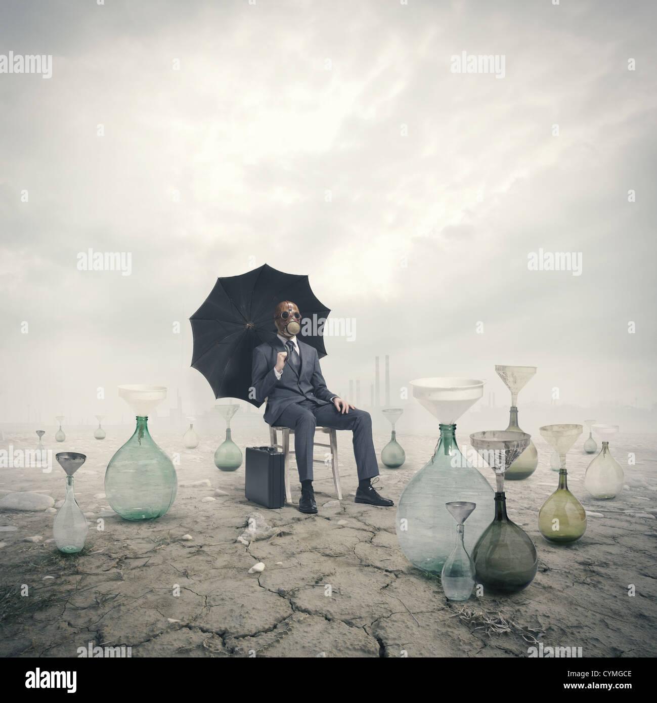 Concetto di riscaldamento globale: Danni ambientali Immagini Stock