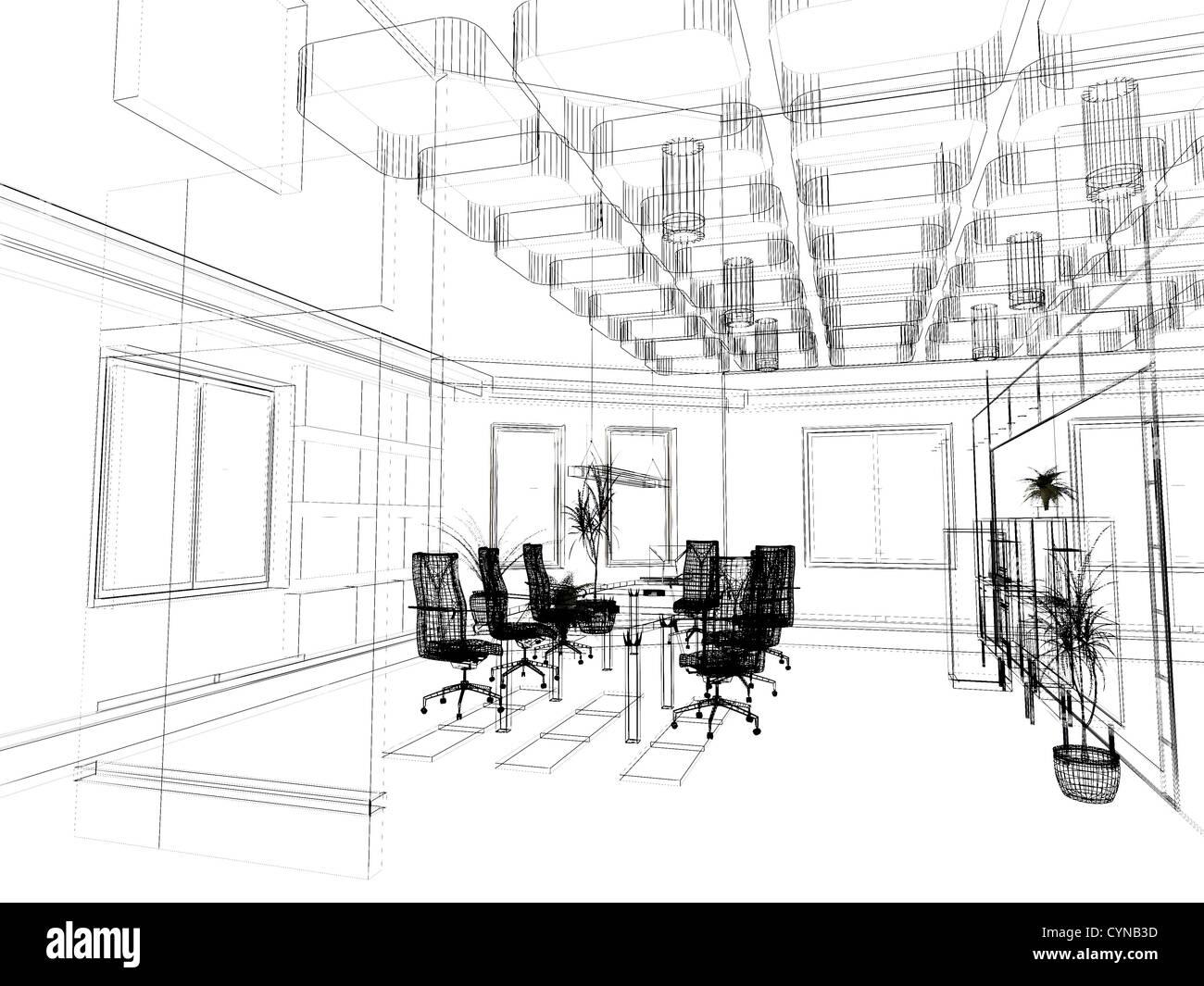 L 39 ufficio moderno interior design sketch 3d rendering for Interior design ufficio