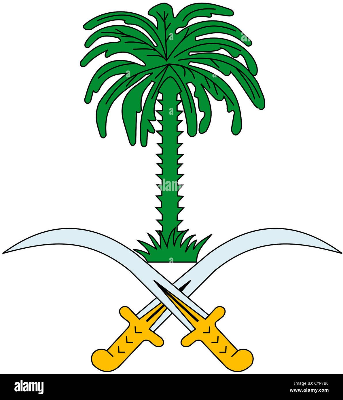 Stemma nazionale del Regno dell'Arabia Saudita. Immagini Stock