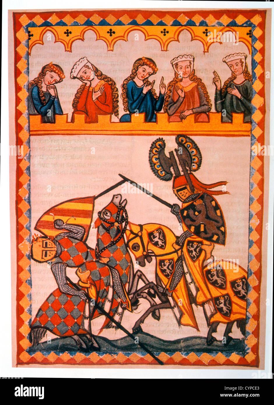 Walter von Klingen sconfigge il suo avversario in un torneo, illustrazione dal Flemish Libro di preghiera, xiv secolo Immagini Stock