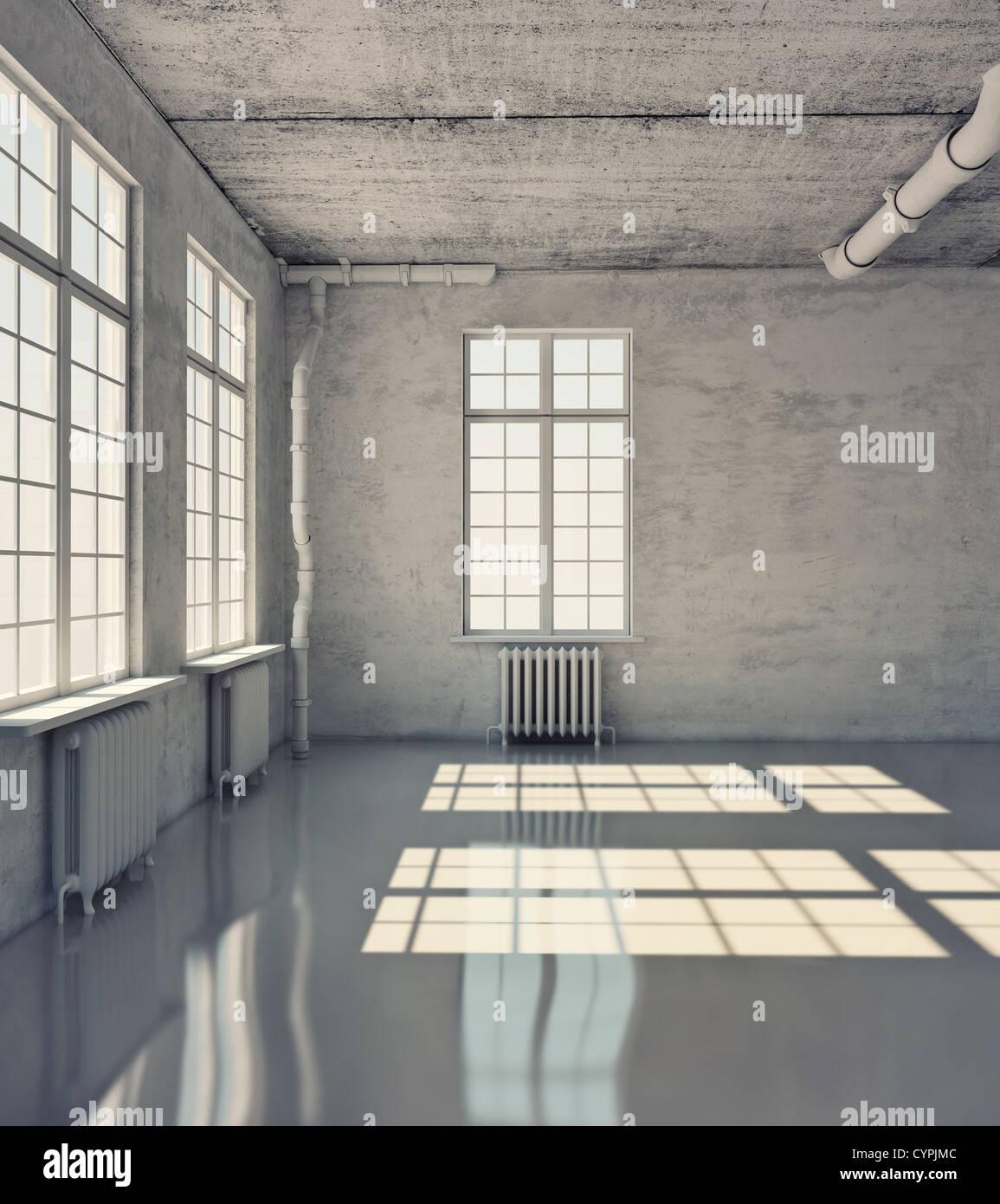 Stanza vuota con windows (loft concetto) Foto Stock