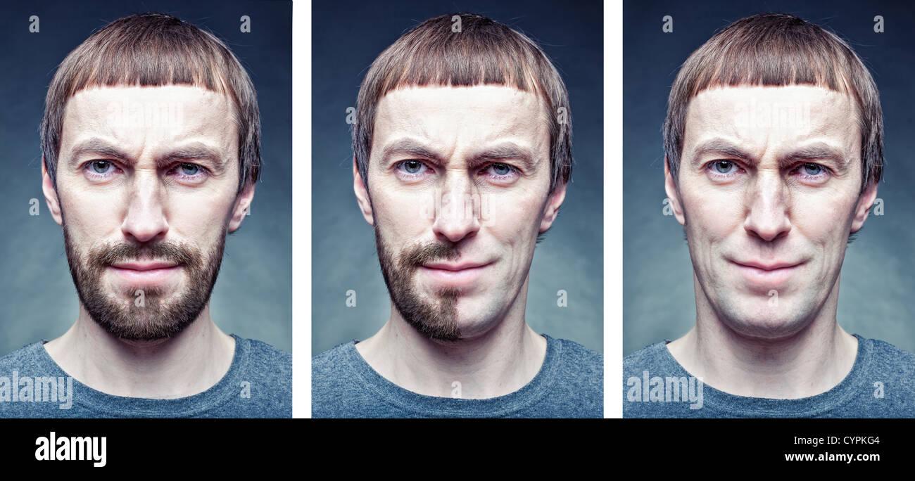 Stadio la rasatura del viso. Il concetto di foto Immagini Stock